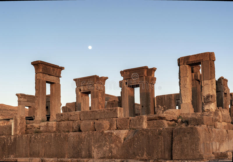Dusk of Persepolis ruins,Shiraz Iran royalty free stock photography