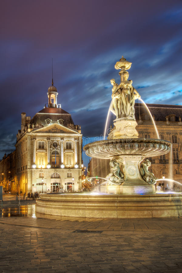 Dusk in the Place of the Bourse royalty free stock photography