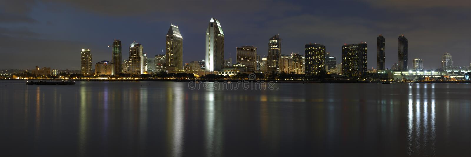 Dusk, San Diego downtown royalty free stock image