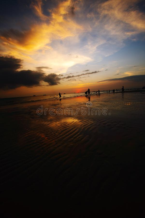 Dusk with sand ripples royalty free stock images