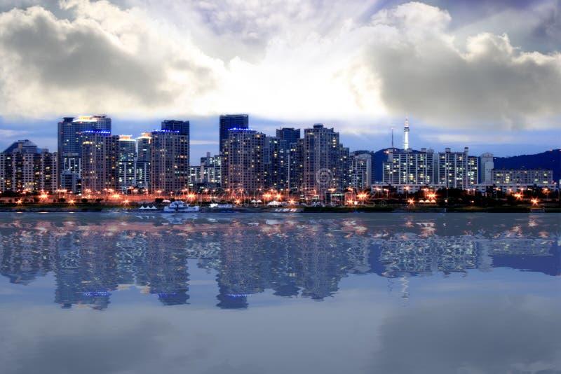 dusk seoul skyline στοκ εικόνα
