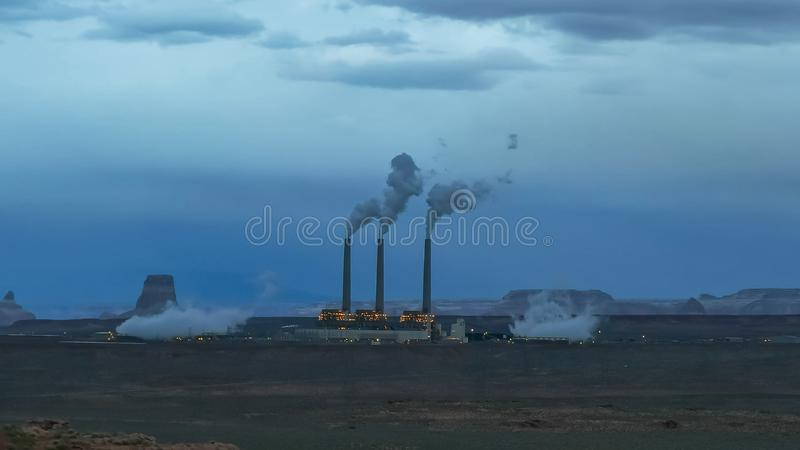 Dusk shot of navajo thermal power station in page, az stock photography