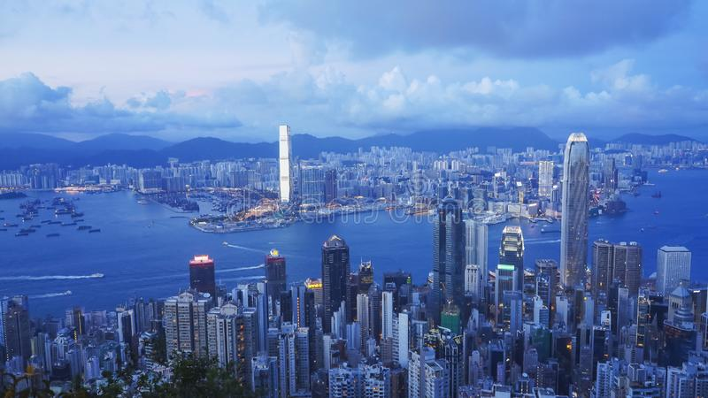 Dusk shot of victoria harbour and hong kong island from the peak in hong kong. China stock images