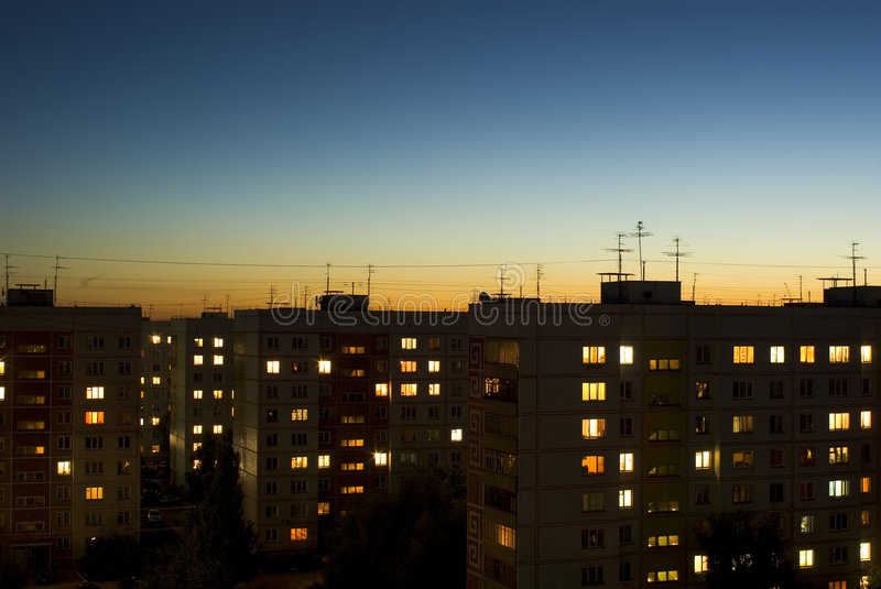 Dusk sky and evening houses royalty free stock image