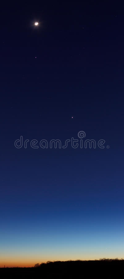 Dusk sky with planets and Moon royalty free stock photos