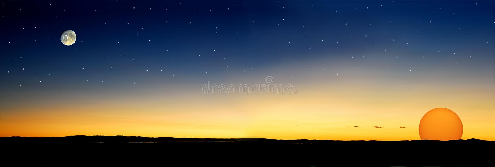 Dusk stars sun. Dusk before sun go down with stars and moon (See improved image on 4908316 royalty free stock photo
