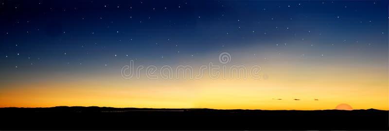 Dusk stars sun. Dusk evening sunset before sun go down with stars stock photos