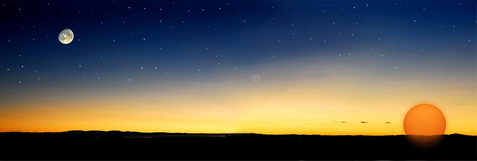 Dusk stars sun. Dusk before sun goes down with stars and moon (This is the improved image for 4004505 royalty free stock image