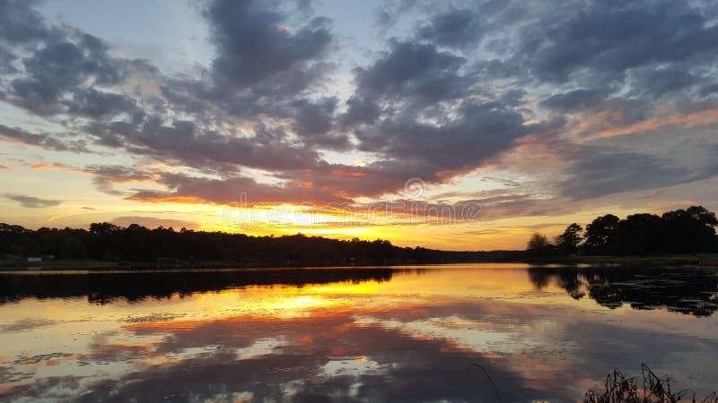 Dusk sunset lake stock image