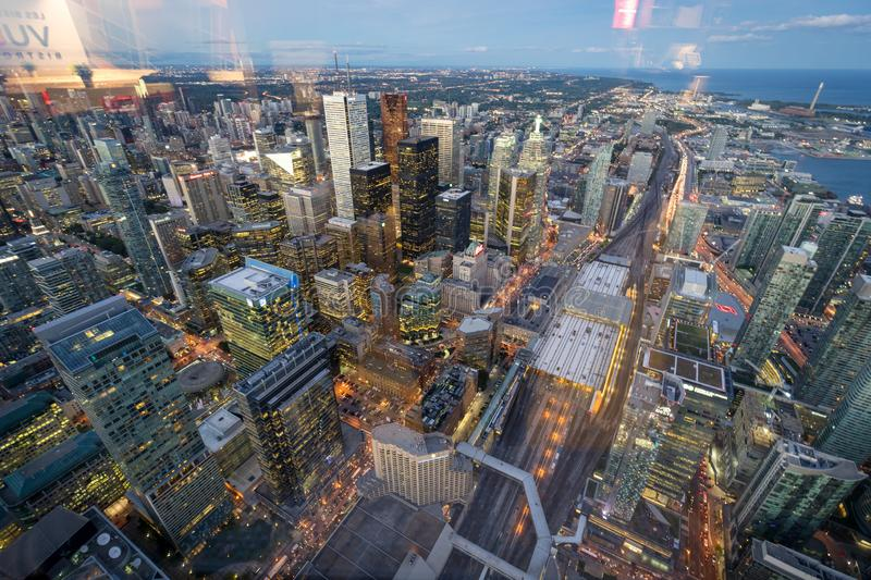 Dusk time view of Toronto downton from the CN tower. From the top royalty free stock photo