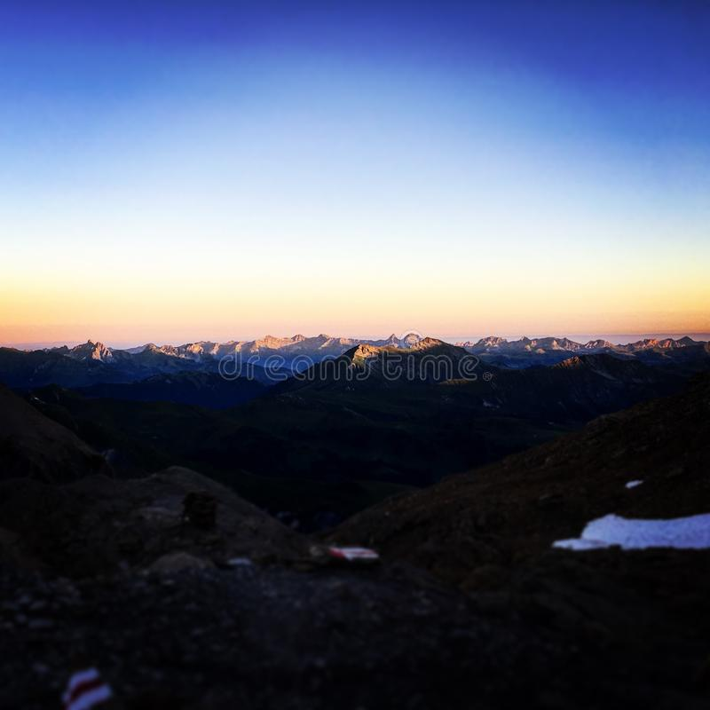 Dusk at the top of the mountain royalty free stock image