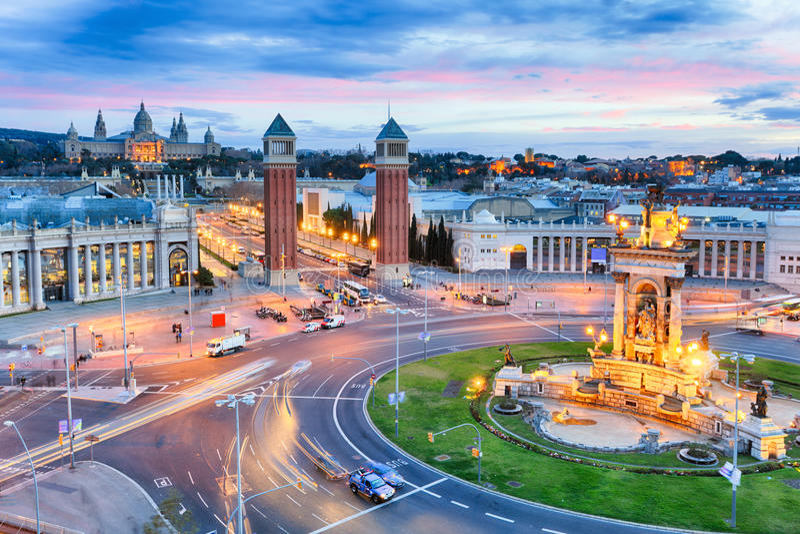 Dusk view of Barcelona, Spain. Plaza de Espana.  royalty free stock photos