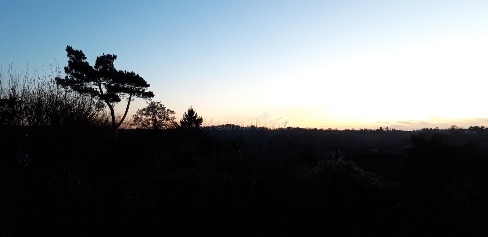 Dusk View. Sunset at dusk, pretty view, blue sky royalty free stock photo