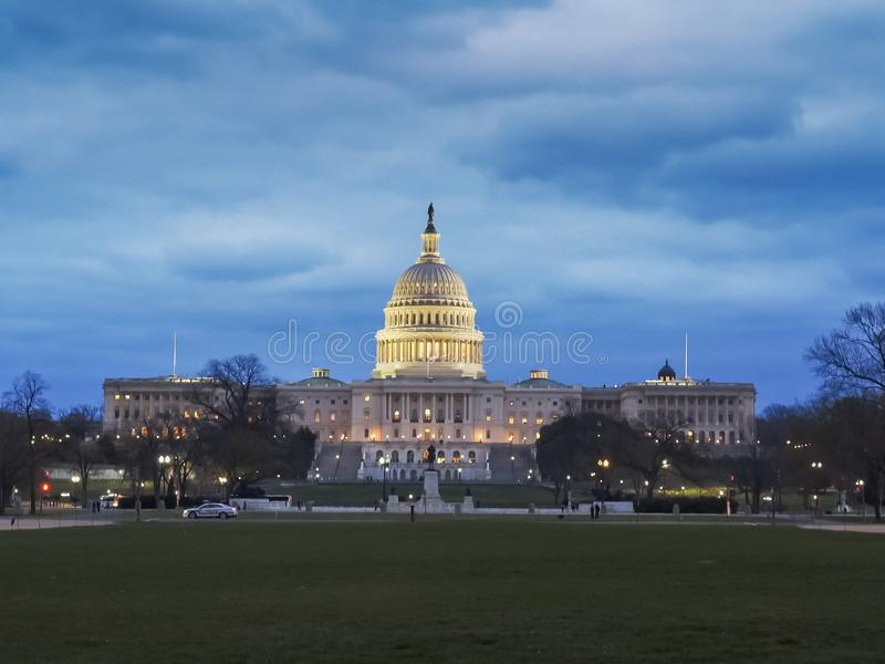 Dusk view of the us capitol building in washington stock image