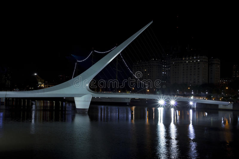 Dusk and Woman Bridge on Puerto Madero neighborghood or disctrict in Buenos Aires city, Argentina stock image
