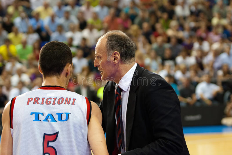 Dusko Ivanovic gives instructions to his player on the match against F.C Barcelona basketball team stock images
