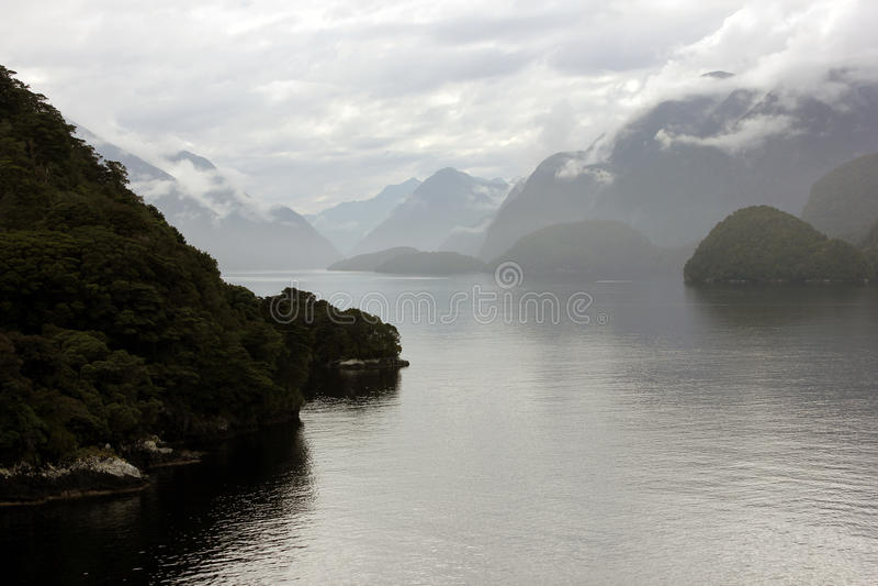 dusky fiordland nya sound zealand arkivfoto