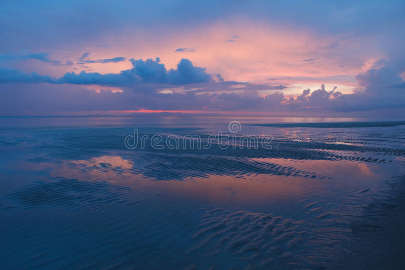Dusky Time Twilight Colorful Sky And Natural Sand Stock Photos