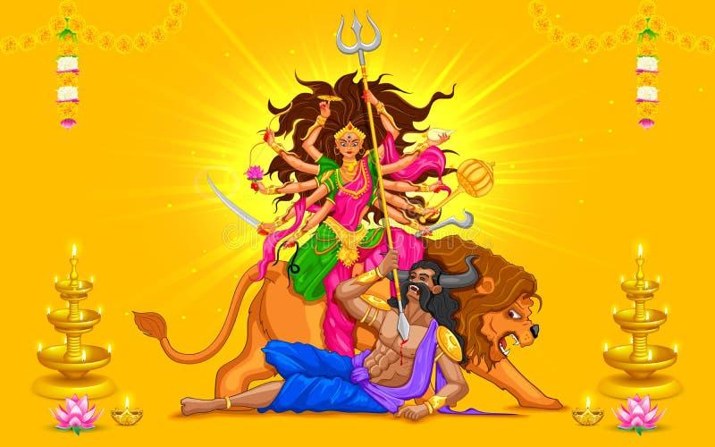 Dussehra heureux avec la déesse Durga illustration stock