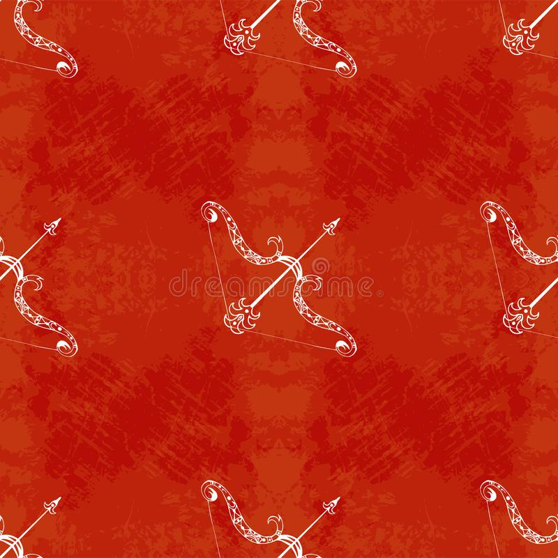 Dussehra, Navratri-festival in India 10-19 Oktober Hindoese vakantie Boog en pijl van Lord Rama Naadloos patroon Grunge backgroun vector illustratie