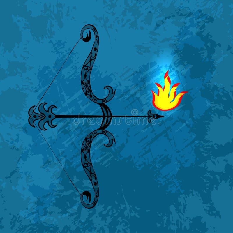 Dussehra, Navratri festiwal w India 10-19 Październik Hinduski wakacje Łęk i strzała władyka Rama Ogień przy poradą strzała _ ilustracji