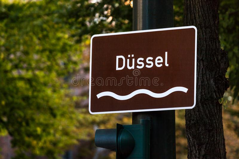 Dussel river sign in dusseldorf germany. An dussel river sign in dusseldorf germany royalty free stock image