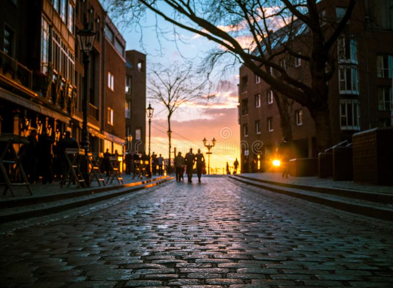 Dusseldorf Altstadt Old Town in Sunset royalty free stock photography