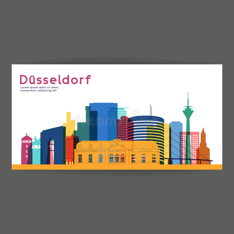 Dusseldorf colorful architecture vector illustration. royalty free illustration