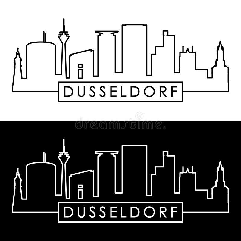 Dusseldorf linia horyzontu liniowy styl ilustracja wektor