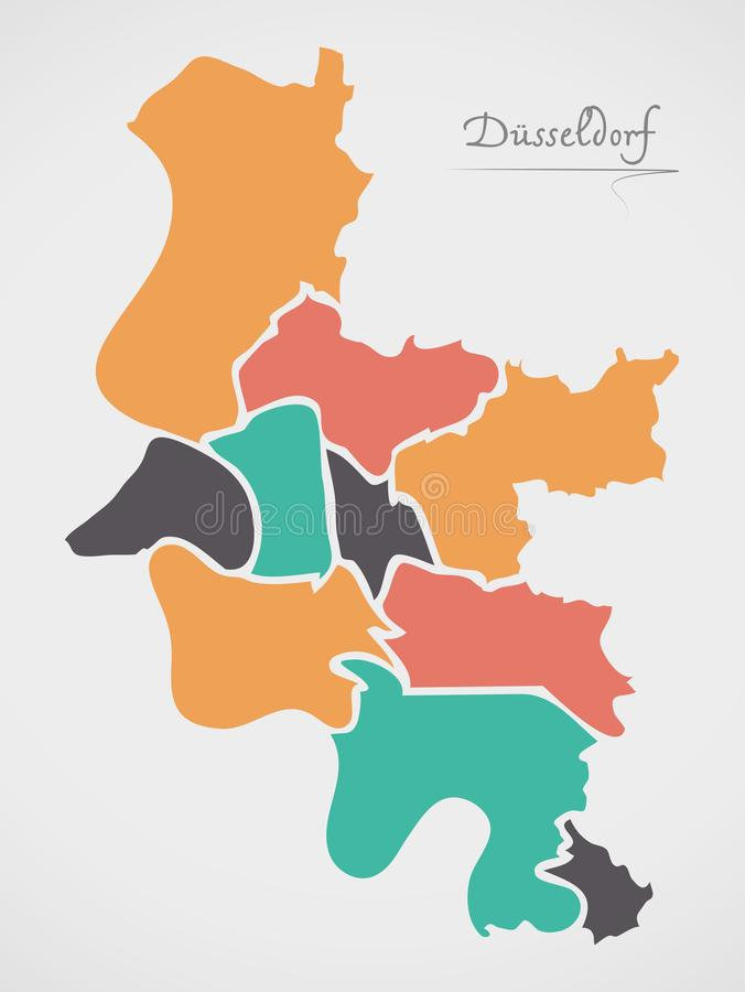Dusseldorf Map with boroughs and modern round shapes. Dusseldorf Map with boroughs and modern round royalty free illustration