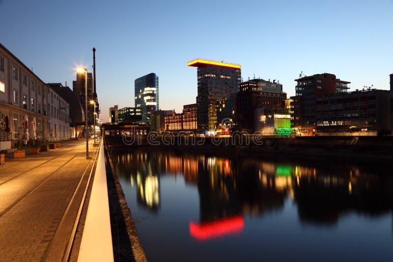 Dusseldorf Media Harbor at night royalty free stock photography