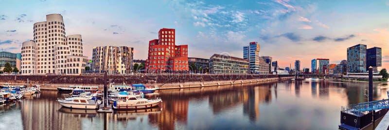 Dusseldorf, Media Haven, Zollhof, Noordrijn-Westfalen, Duitsland stock foto's