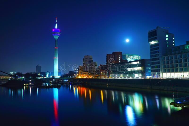 Dusseldorf at night stock photos