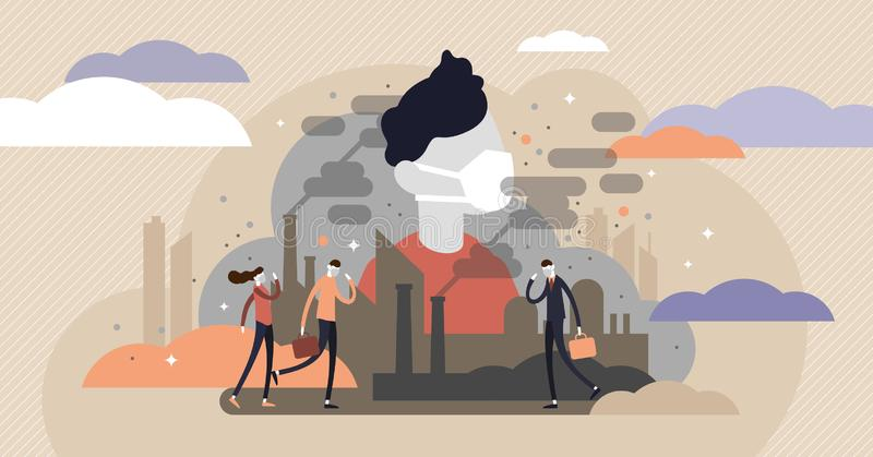 Dust in air vector illustration. Flat tiny dirty smog air persons concept. royalty free illustration
