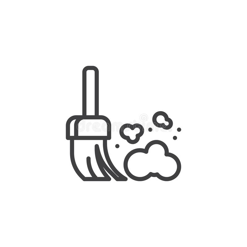 Dust allergy symptoms line icon. Linear style sign for mobile concept and web design. Broom and dust outline vector icon. Symbol, logo illustration. Pixel vector illustration