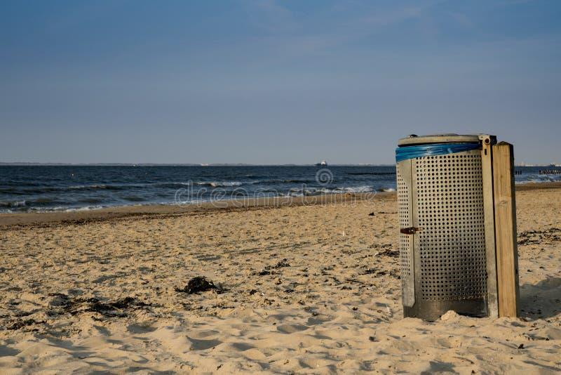 Dust bin on the beach of Cadzand Bad, The Netherlands stock photo