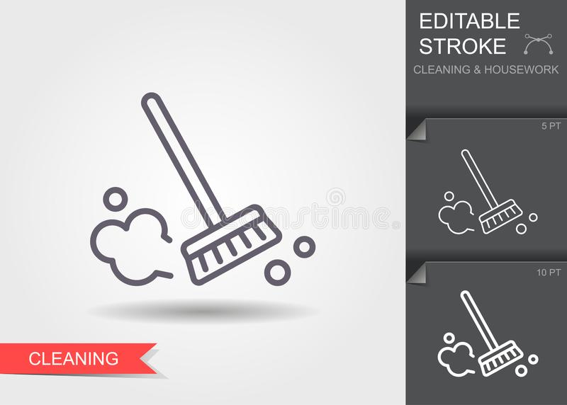Dust brush. Line icon with editable stroke with shadow stock illustration