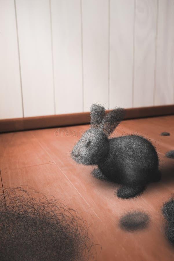 Dust bunny on the floor stock image