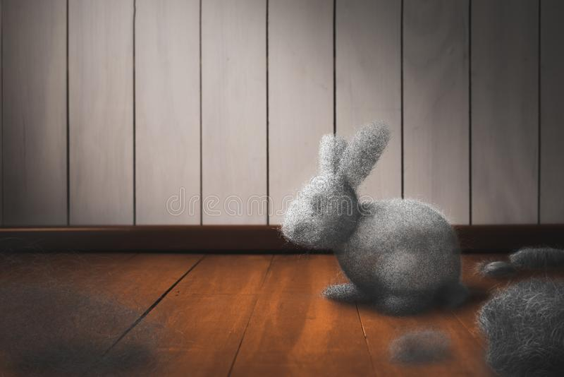 Dust bunny on the floor. Cleaning the house concept with dust bunny on a dirty floor / mixed media, 3D Elements in this image royalty free stock images