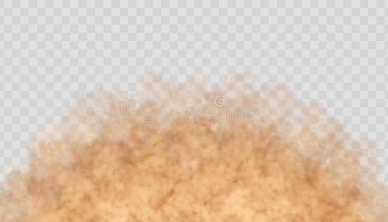 Dust cloud isolated on transparent background. Sand storm, beige powder explosion concept. Dust cloud isolated on transparent background. Sand storm, beige vector illustration