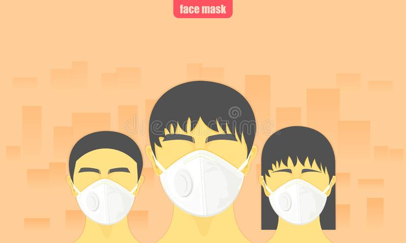 Dust critical. people wearing protect face mask from air pollution in the city vector illustration eps10 vector illustration