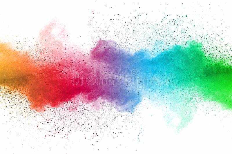 Dust explosion. Abstract art powder paint on white background. Movement abstract frozen dust explosion multicolored on white background. Stop the movement of stock photography