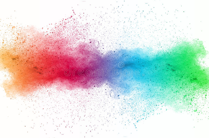Dust explosion. Abstract art powder paint on white background. Movement abstract frozen dust explosion multicolored on white background. Stop the movement of royalty free stock photography