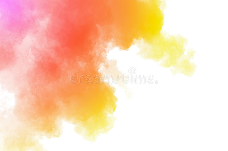 Dust explosion. Abstract colored powder on white background. Frozen abstract movement of dust explosion multiple colors on white background. Stop the movement of stock photos