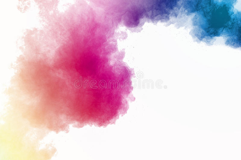 Dust explosion. Abstract colored powder on white background. Frozen abstract movement of dust explosion multiple colors on white background. Stop the movement of royalty free stock photography