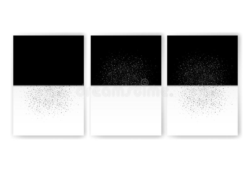 Dust fade scattered glitter snow winter two tone texture abstract background. Black and white distress template brochure, cover, royalty free illustration