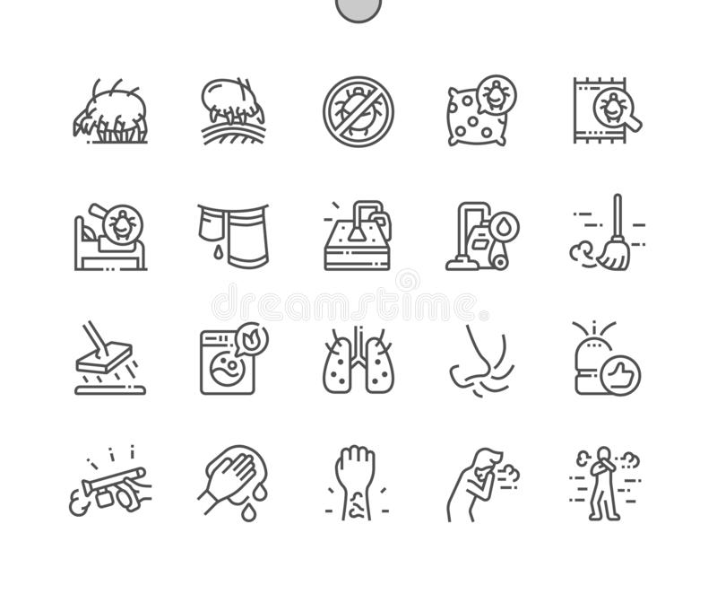 Dust mites Well-crafted Pixel Perfect Vector Thin Line Icons 30 2x Grid for Web Graphics and Apps. Simple Minimal Pictogram royalty free illustration