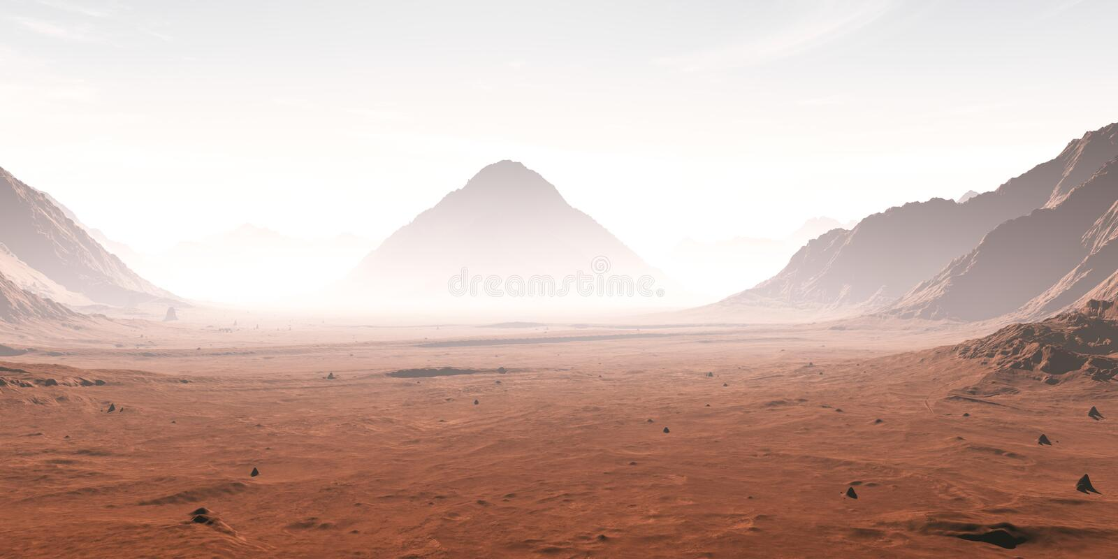 Dust obscured Martian landscape royalty free illustration