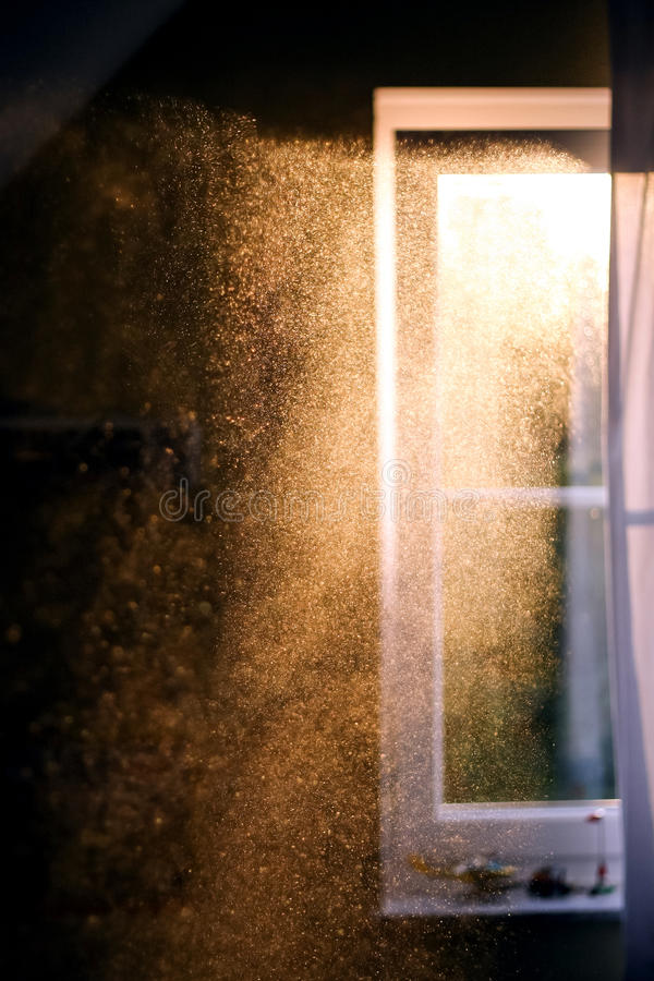 Dust particles in the air stock photo