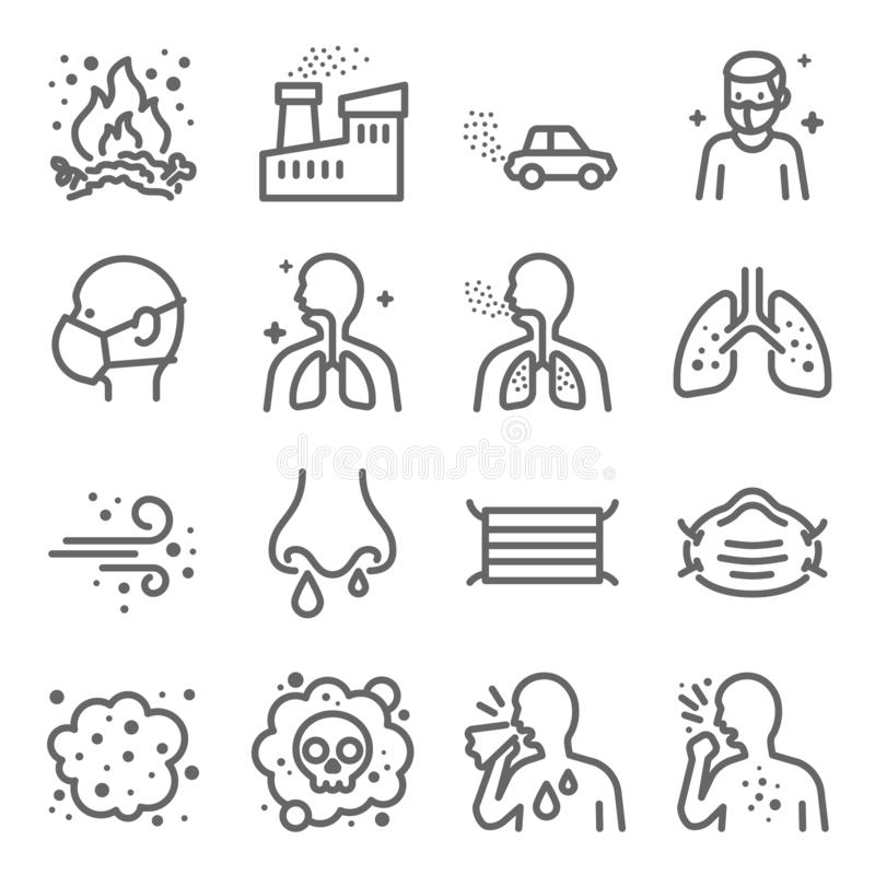 Dust Pollution Vector Line Icon Set. Contains such Icons as Lung, Factory, Dust Mask, Dirt Air and more. Expanded Stroke royalty free illustration